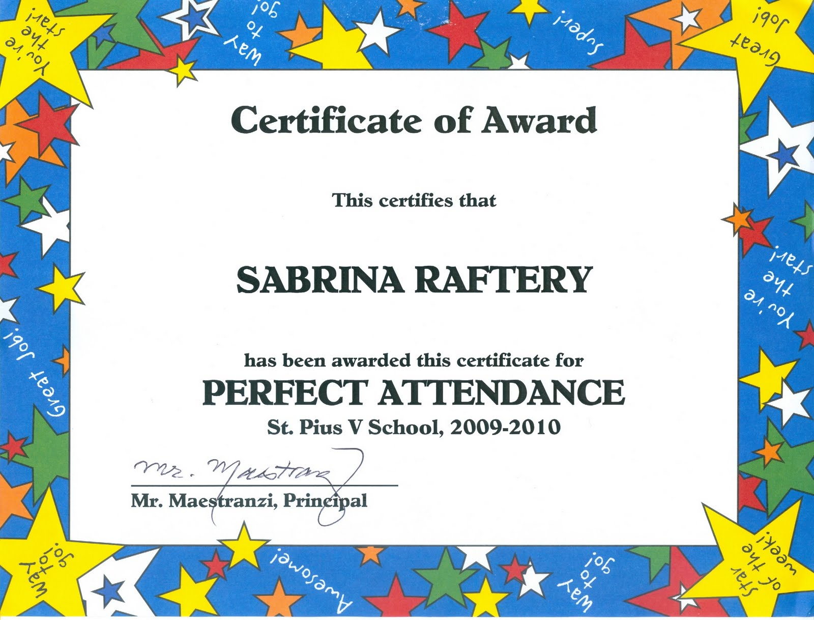 100 attendance certificate template